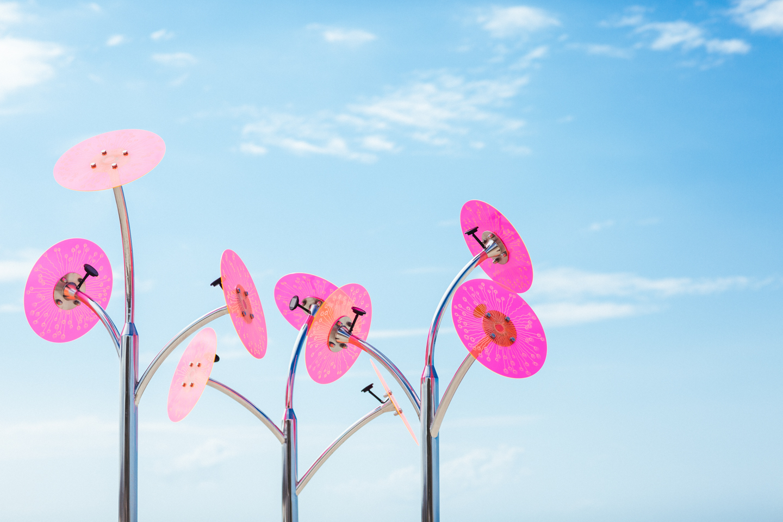 Floral installation against blue sky