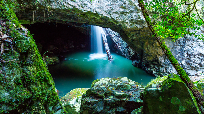 Waterfall in cave, Gold Coast hinterland