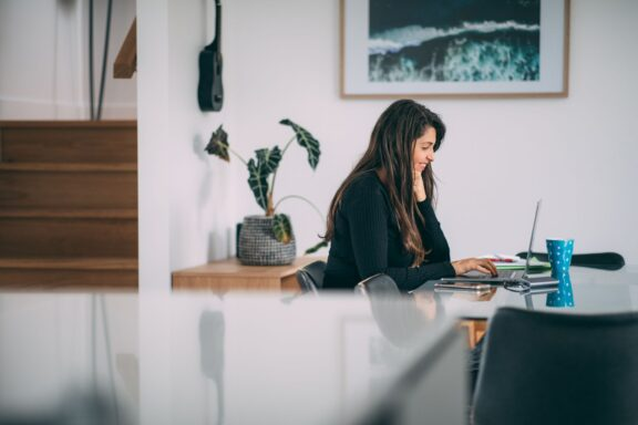 Woman working in startup business