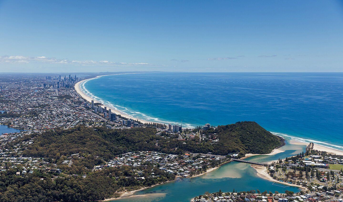 arial view of the Gold Coast with the ocean and coastline visible